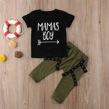2018 New Style Kids Summer 2Pcs Baby Boys Cotton Black Tops T-shirt+Army Long Pants Outfit Children Casual Clothes Tracksuit Set(China)