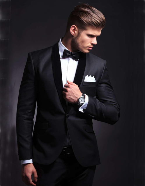 Classique Style Costumes pour Hommes Sur Mesure Costume De Mariage Slim Fit  Smokings de Marié Noir e7852677045