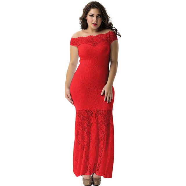 fc923891de V1073 Newly Floor-Length Mermaid Bodycon Maxi Elegant Party Dress Kleider  Damen Off Shoulder Lace