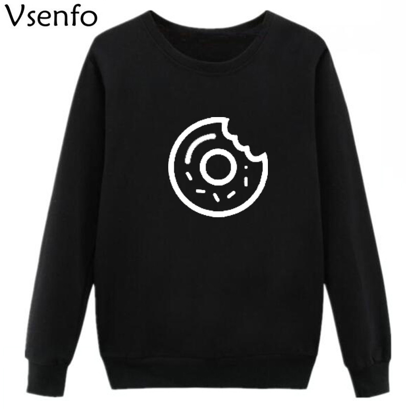 Vsenfo Womens Hoodies Donuts Sweatshirt Women Cute Graphic Printed Autumn Hooded Jumper Tracksuit Moletom Tumblr