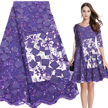 Sequins African Lace Fabric For Women Dress 2019 High quality French Embroidery Lace Fabric Purple Nigerian Lace Fabric 5Yards