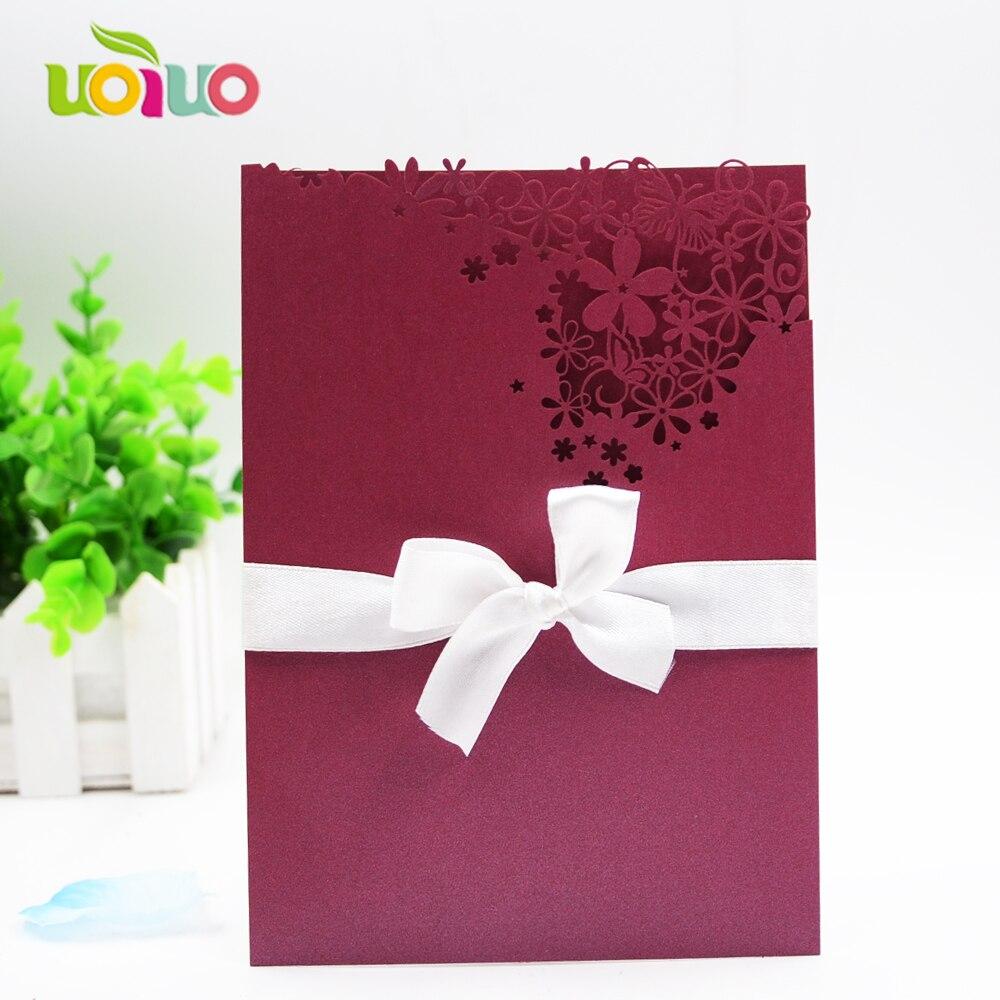 Elegant wine red pocket fancy lace invitation card 50th wedding ...