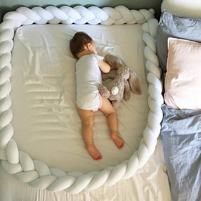 Braided Cute Kids Crib Protector Bed Bumper Pad Cotton Knot Pillow Cushion