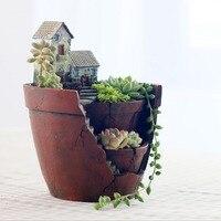 New Sky Garden Flower Pot Creative Lovely Resin Decorative Garden Flower Pot Home Office Decoration