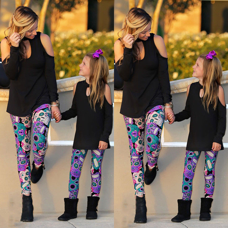 Pudcoco Family Matching Outfits Mother and Daughter Women Girl Long Sleeve Cotton Tops T-Shirt Leggings Clothes S-XL
