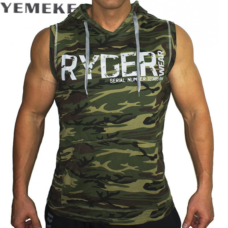 YEMEKE Men's Camouflage   Tank     Top   Sleeveless Hoodie Fashion Bodybuilding Cotton Workout Fitness Muscle Cut Male   Tank     Top