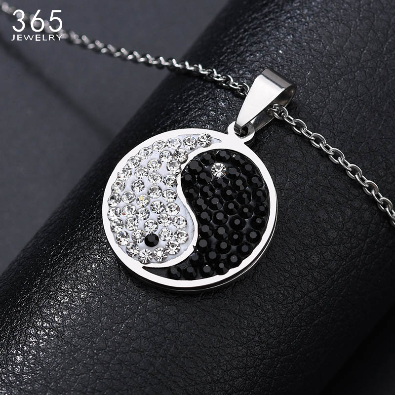 Fashion Hot New Shining Gossip Yin Yang Necklace Stainless Steel Cubic Zirconia Pendant Necklace Drop Shipping