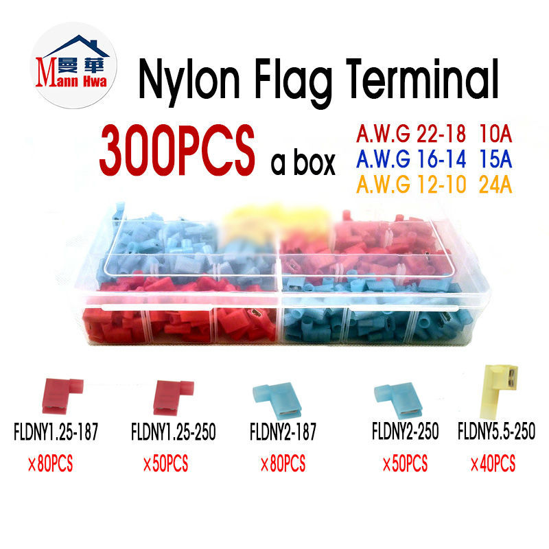 300PCS Nylon Insulated Flag Terminal Connector A.W.G 22-18 16-14 12-10