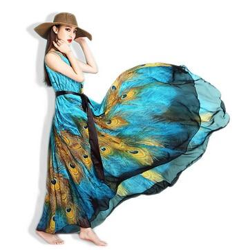 M-9XL Long Plus Size Beach Dresses For Vacation Print Peacock Bohemia Summer Dress Big Size Maxi Dress 9XL 8XL 7XL 6XL 5XL 7