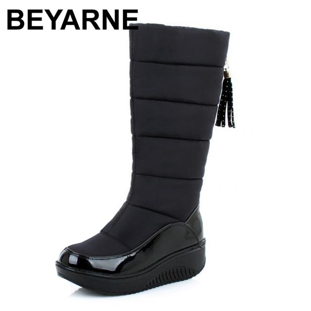 Nuevo 2016 mujeres impermeables botas de nieve botas de plataforma térmica cómodo cuñas de alta de la pierna de invierno zapatos casuales de piel de envío gratis