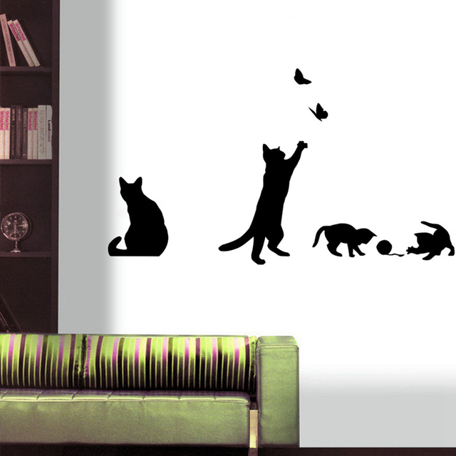 Aliexpresscom Buy New Arrived Cat Play Wall Sticker Butterflies - Vinyl wall decals butterflies