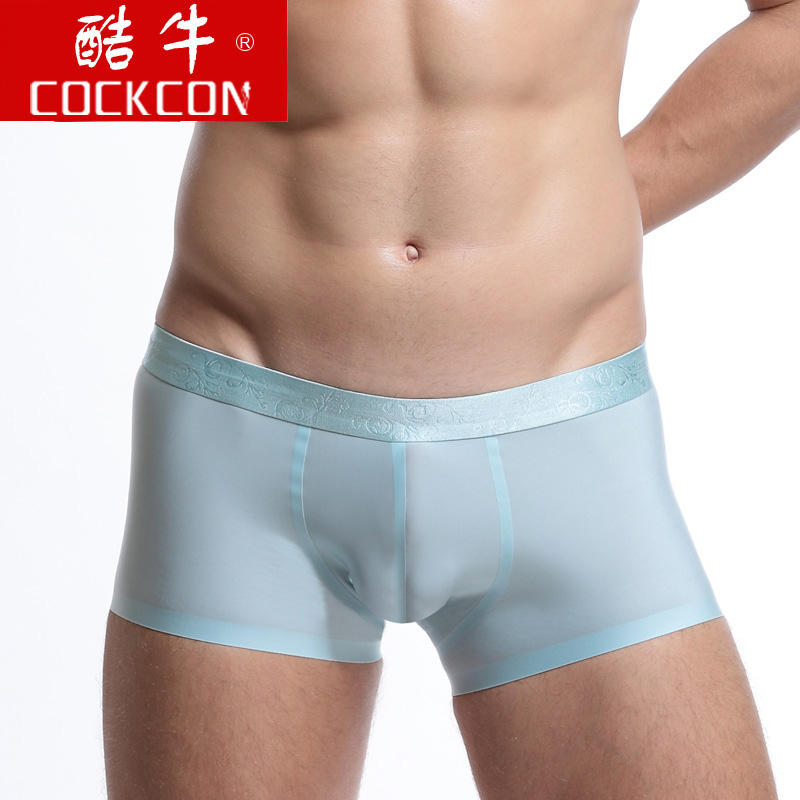 Cockcon Sexy Mens Underwear Ice Silk Boxers Men U Convex Pouch Shorts Cueca Boxers Homme Seamless Male Panties