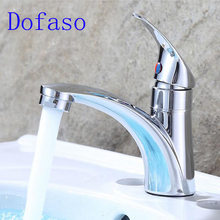 все цены на Dofaso bathroom Single Hole Cold Water taps washbasin tap basin faucet Zinc Alloy Kitchen Faucet Mixer Single Handle онлайн