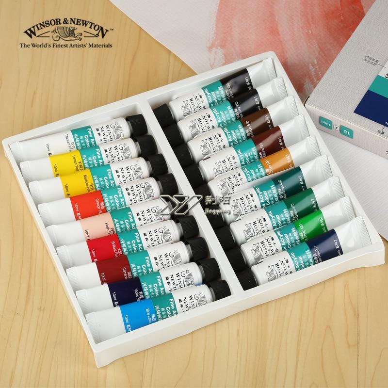 Купить с кэшбэком Free shipping Windsor Newton 24 color Acrylic paint  set wall paint colour acrylic paint clothes professional kids art lam