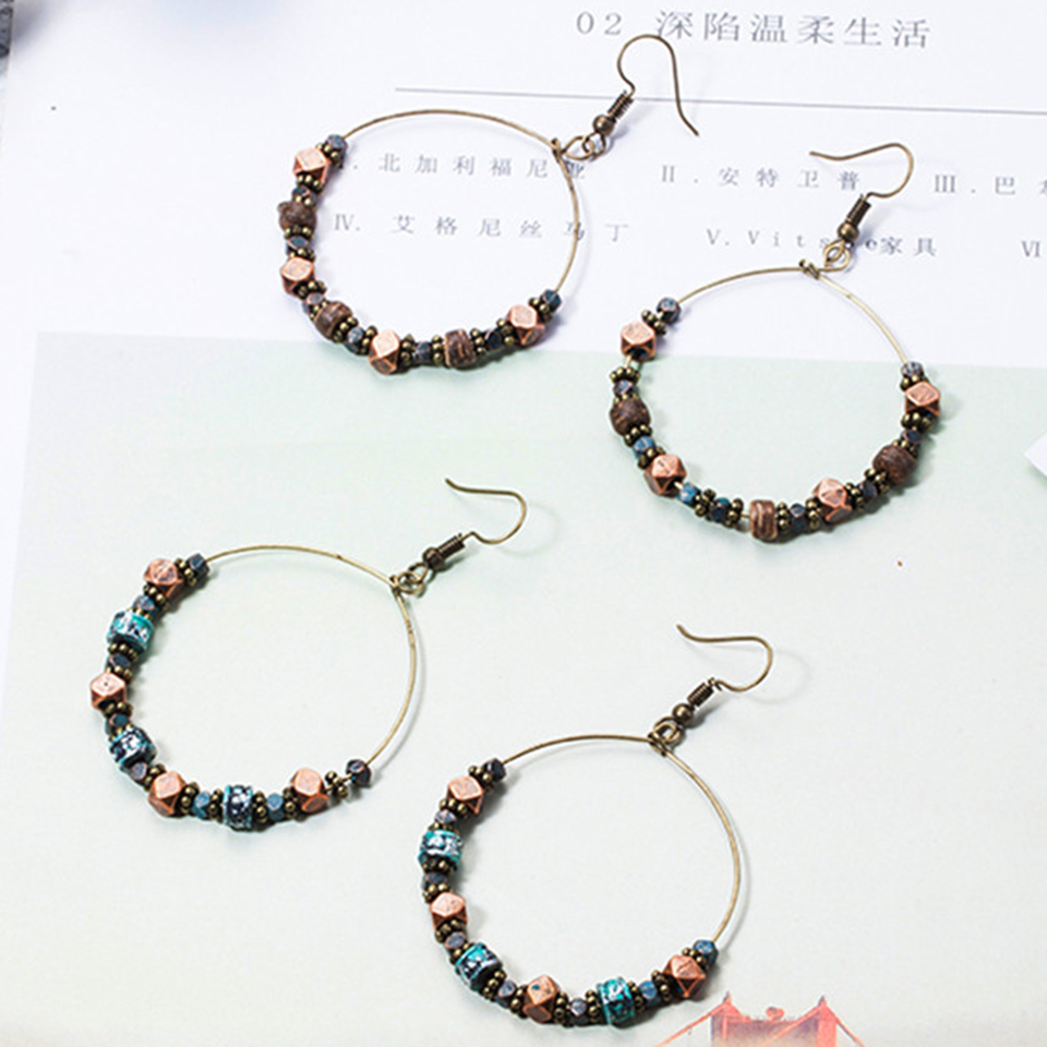 New vintage jewelry earring Antique big round circle golden drop earrings for women gifts Crystal shells wooden beads earings