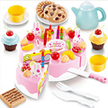 54pcs DIY Cutting Birthday Cake 3+ Children Kids Early Educational Model Classic Toy Pretend Play Kitchen Food Plastic Toy