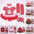 Рождество Комплект Одежды Хлопок Menina Conjunto Infantil Bebe Санта-Клаус Новорожденных Ропа Нины 2015 Девочка Рождество Одежда Набор