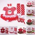 Christmas Clothing Set Cotton Conjunto Infantil Menina Bebe Santa Clause Newborn Ropa Ninas 2015 Girl Christmas Clothing Set