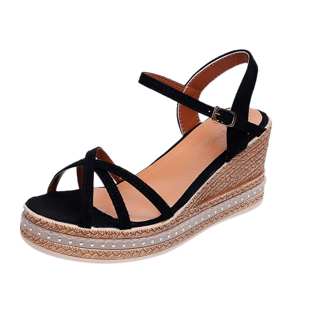 SAGACE Female Sandals Shoe Buckle Wedge-Heel Shallow-Mouth Round-Toe Casual Women's 16