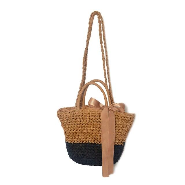 Модные летние женские сумки соломенные вязание ленты сумки на плечо лук леди ведро Посланник Лоскутные сумки пляжная сумка BA200