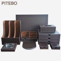 PITEBO 9 unids/set madera marrón cuero Oficina y archivo papelería escritorio organizador bolígrafo caja alfombrilla de ratón almohadilla de escritura
