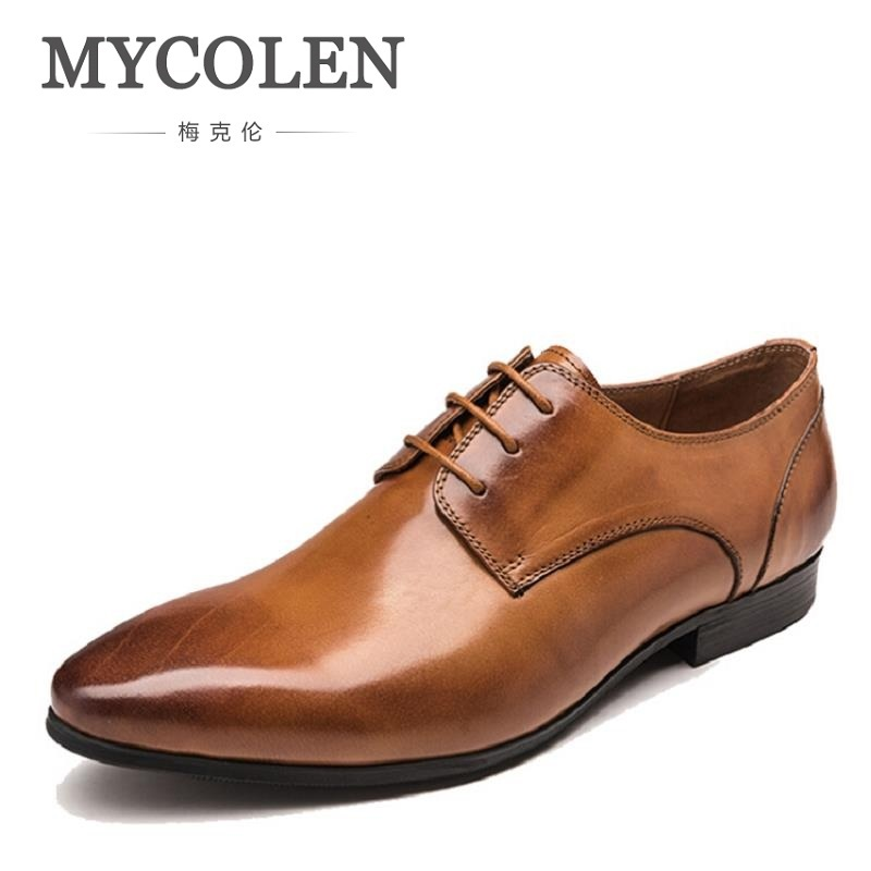 MYCOLEN Brand Genuine Leather Men Dress Shoes Luxury Fashion Designer Mens Shoes Casual Male Footwear Zapatos Hombre new fashion men luxury brand casual shoes men non slip breathable genuine leather casual shoes ankle boots zapatos hombre 3s88