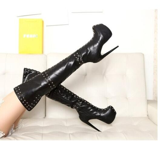 Hot selling over the knee boots for woman 2017 newest punk style rivets studded thigh high boots big size platform long boots цены онлайн