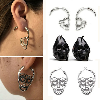 New Design Silver Black Color Skull Stud Earrings For Women Men Punk Rock Style Skeleton Ear Jewelry Gift