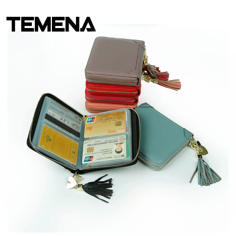 Temena Genuine Leather Women Credit Card Holder Cute