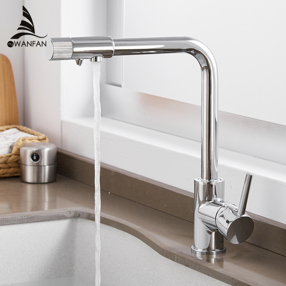 Kitchen Faucets Deck Mount Purify Mixer Tap 360 Degree Rotation With Water Purification Single Hole Crane For Kitchen WF-0185