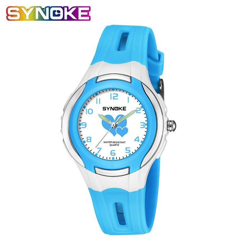 SYNOKE Age Girl Watch Quartz 50M Waterproof Designer Watch Kids PU Strap Gift For Girls Clock Digitaal Horloge Meisje 2019