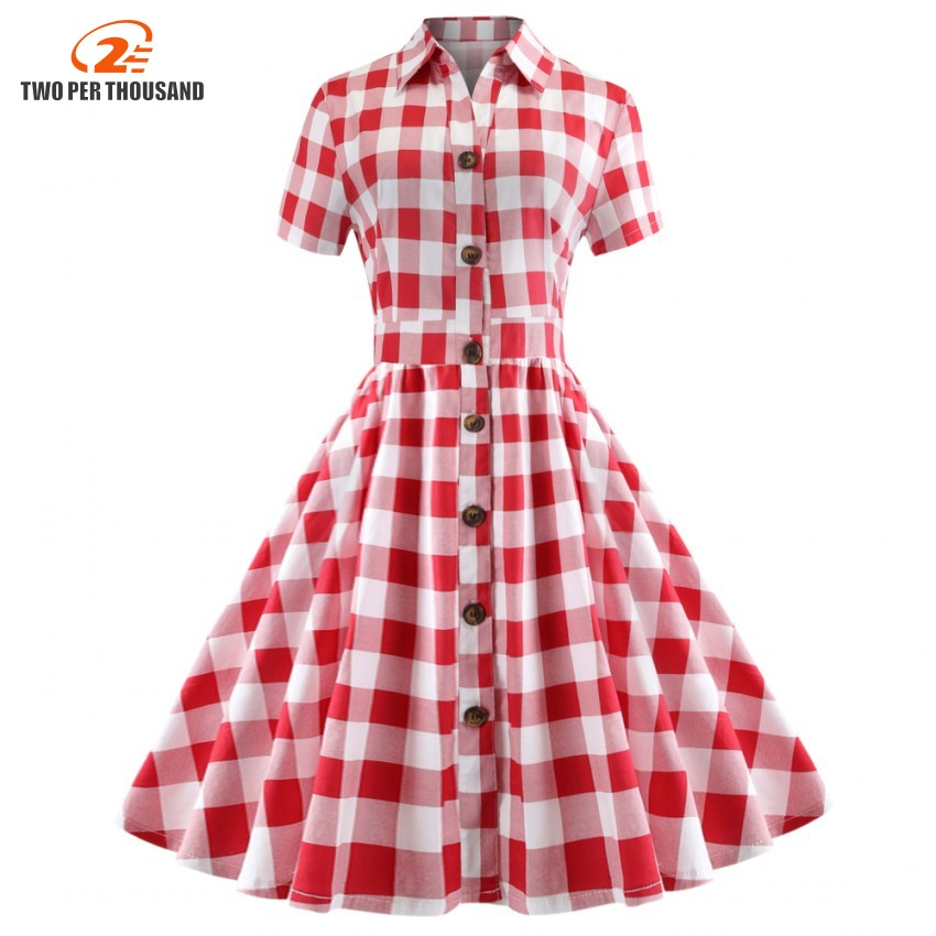 Women Plaid Dress Vintage Plus Size A-Line Elegant Fashion Summer Swing  Dress Retro Chic Short Sleeve Red Party Dress