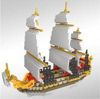 161161 lop Building Blocks Model Sailing Ship Boat Model Building Blocks school educational supplies Toys for Children Christmas