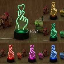 USB Finger Heart LED Night Light Novelty 7 Colors Changing 3D Desk Table Lamp Home Decor A21_17