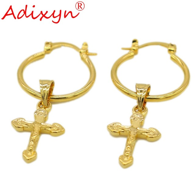 Adixyn Cross Earrings For Women Gold Color Copper African Middle East Jewelry Party