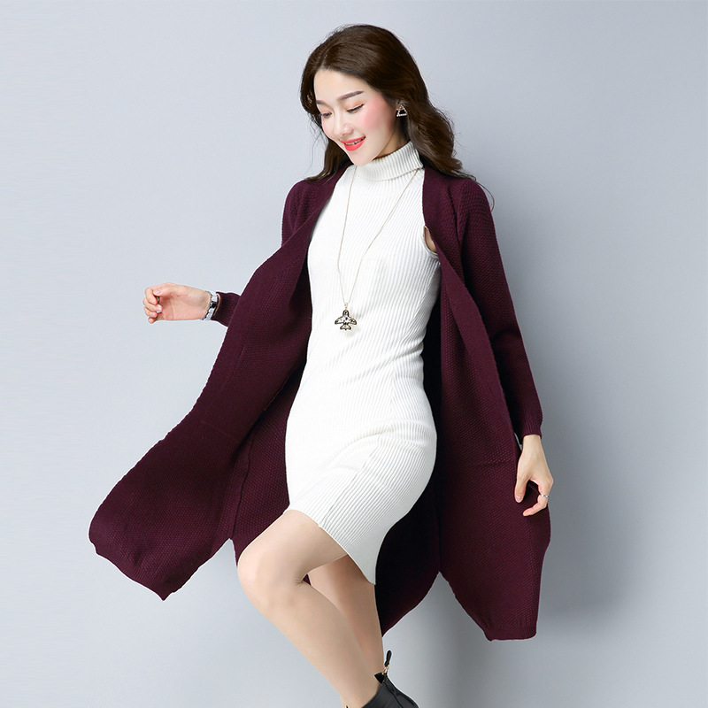 Knitwear Women Cardigan Female Autumn Winter Solid Pockets Long Casual Sweater Cardigan Chompas De Mujer Para El Invierno 2018