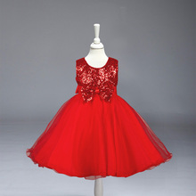 New Baby Girls Sequined Bow Princess Summer Dress Beautiful Children Wedding Party Baby Dress Free Shipping 8089