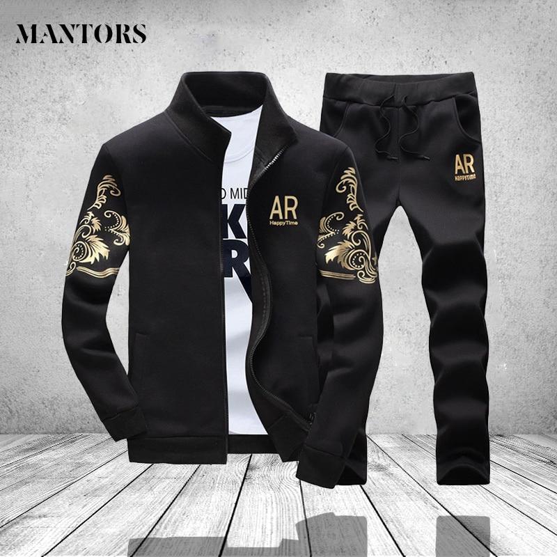 Спортивная Для мужчин s комплект осень Для мужчин Пот Костюмы брендовая одежда мужской Sweatpant Длинные рукава Повседневная куртка и брюки Спо... ...