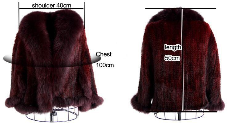 Hot Sale Genuine Mink Fur Shawl With Fox Fur Trim Women Natural Mink Fur Poncho Winter Knitted Mink Fur Jackets DL6235 (2)
