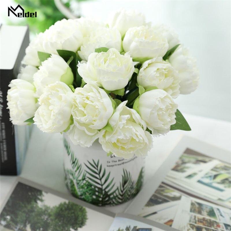 Meldel Bridal Wedding Bouquet Artificial 6 Heads Rose Peony Flower Bridesmaids Holder Wedding Bouquet DIY Home Party Store Decor