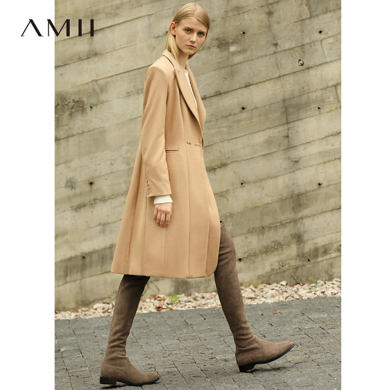 Amii Causal Women Long Wool Coat Winter 2018 Office Solid Double Closure Single Button Loose New