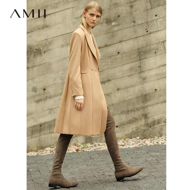 Amii Causal Women Long Wool Coat Winter 2018 Office Solid Double Closure Single Button Loose New Chic Female Woolen Jackets