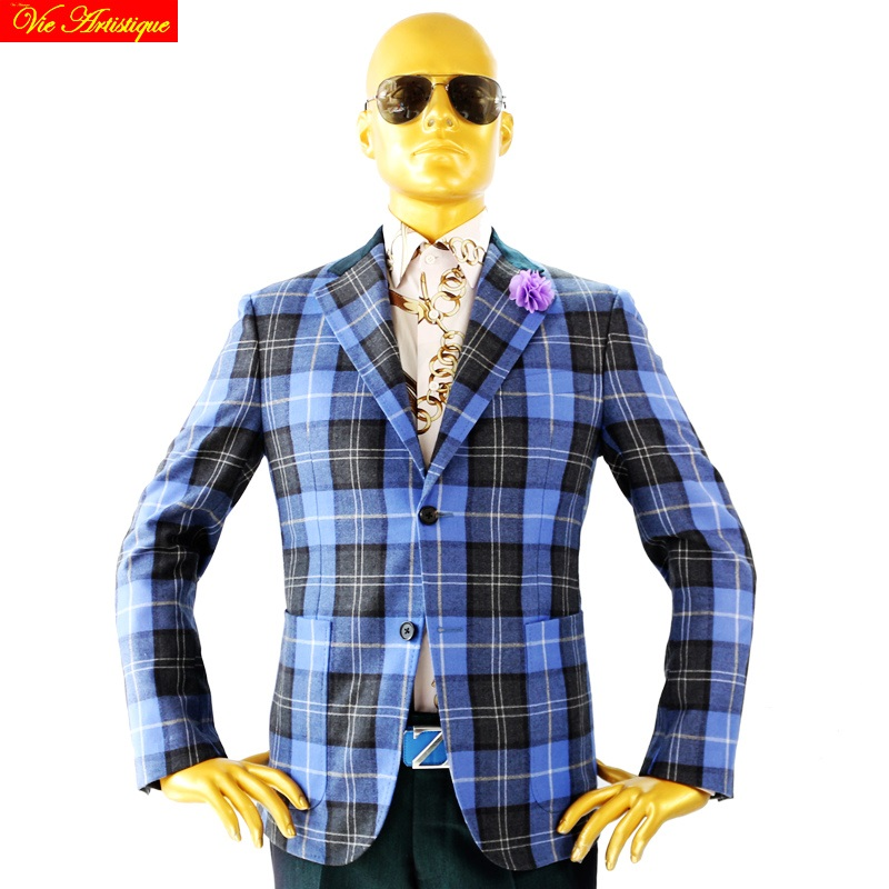 Custom Tailor Made Men's Bespoke Suits Business Formal Wedding Ware Bespoke 2 Piece Jacket Coat Pant Blue Grey Plaid Wool Slim