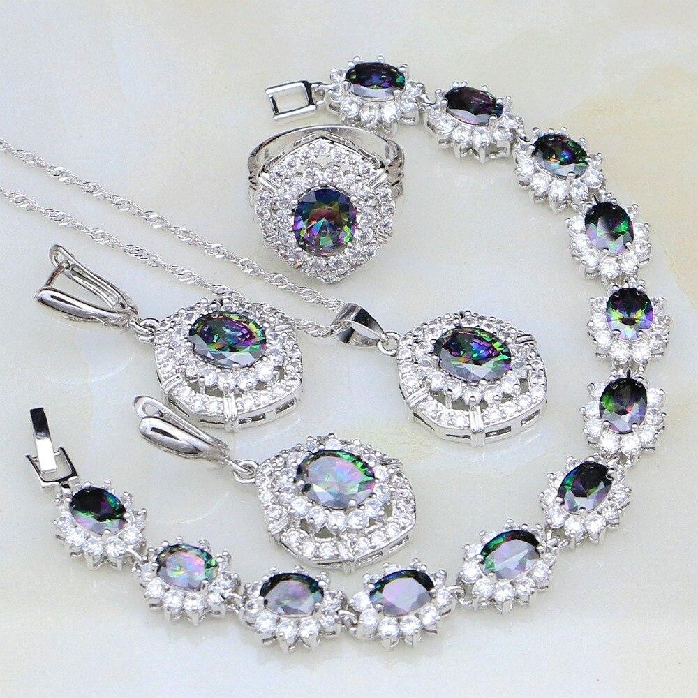 Bridal-Jewelry-Sets Cubic-Zirconia Pendant/ring/Bracelet 925-Silver Women White Mystic