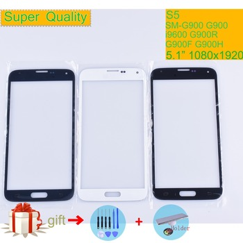 цена на For Samsung Galaxy S5 i9600 G900F G900H G900A G900 SM-G900F Touch Screen Front Glass Panel TouchScreen Outer Glass Lens NO LCD