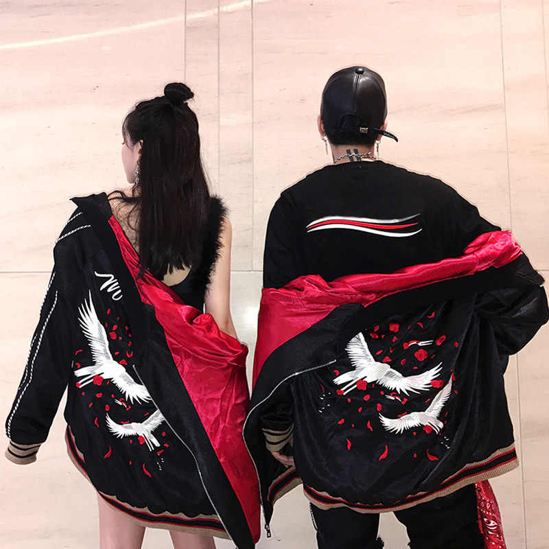 Japanischen Stil Luxus Stickerei Jacke Glatte Männer Jugend Sukajan Yokosuka Souvenir Frühling Herbst Baseball Jacke Lose Mäntel