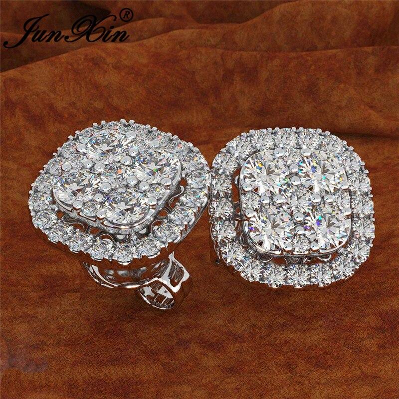 JUNXIN Cute Square Earrings White Gold Rose Gold Color Vintage Crystal Stud Earrings For Women Zircon Wedding Earrings Jewelry