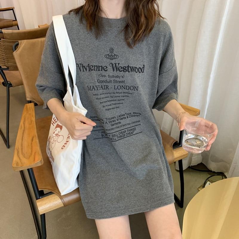 Summer new Long   T     shirt   Women Sexy Short Sleeve Letter gray White   T  -  shirts   harajuku oversize casual soft Tops Tees Female Tshirt