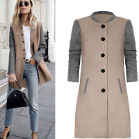 B&N Long Color Blocking Women Jacket Woolen Blazers Lady Baseball Smocking Jackets Winter Coat Pockets