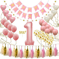 First Birthday Girl Decorations 1st Fun Party Set, Rose Gold Pink Decor Confetti Balloons Bday Bunt
